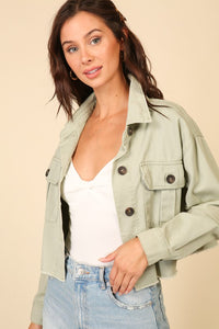 Lt. Olive Cropped Button Down Jacket