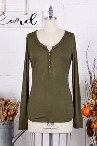 Olive Ribbed Button Henley