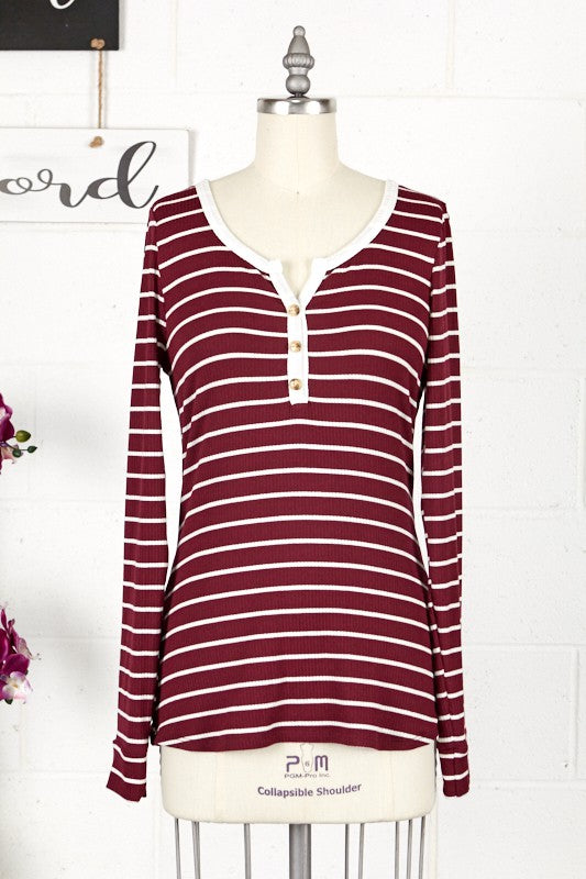 Burgundy Stripe Ribbed Button Henley