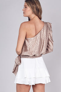 Taupe Leopard Satin One Sleeve Blouse