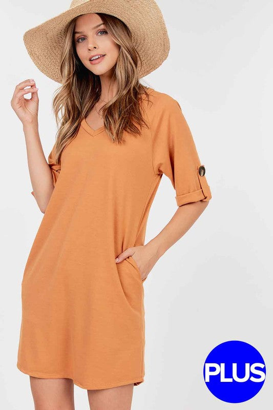 Plus French Terry V-neck Pocket Dress