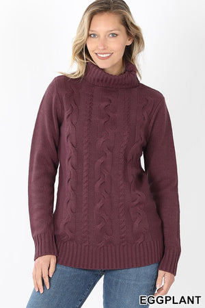 Braided Front Turtleneck Sweater
