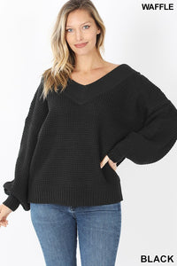 Black Balloon Sleeve Double V Waffle Sweater