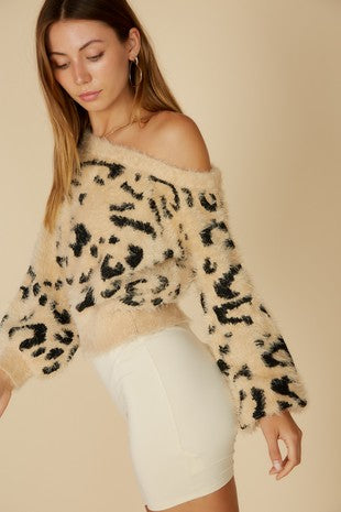 Fuzzy Leopard Crop Off Shoulder Sweater