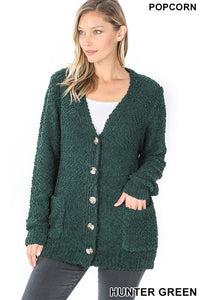 Hunter Green Popcorn Button Down Cardigan