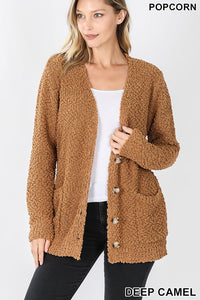 Deep Camel Popcorn Button Down Cardigan