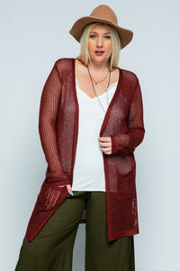 Plus Mahogany Crochet Lightweight Cardigan
