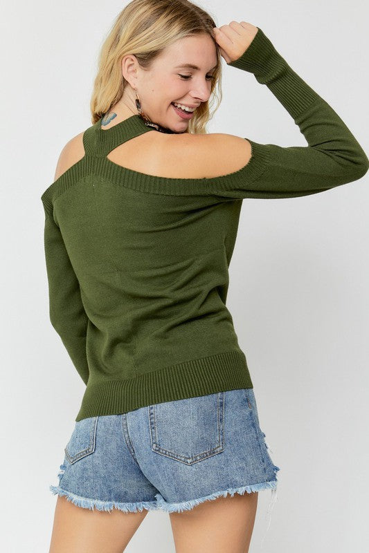 Olive Mock Neck Cold Shoulder Top