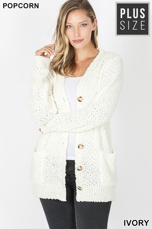 Plus Ivory Popcorn Button Down Cardigan