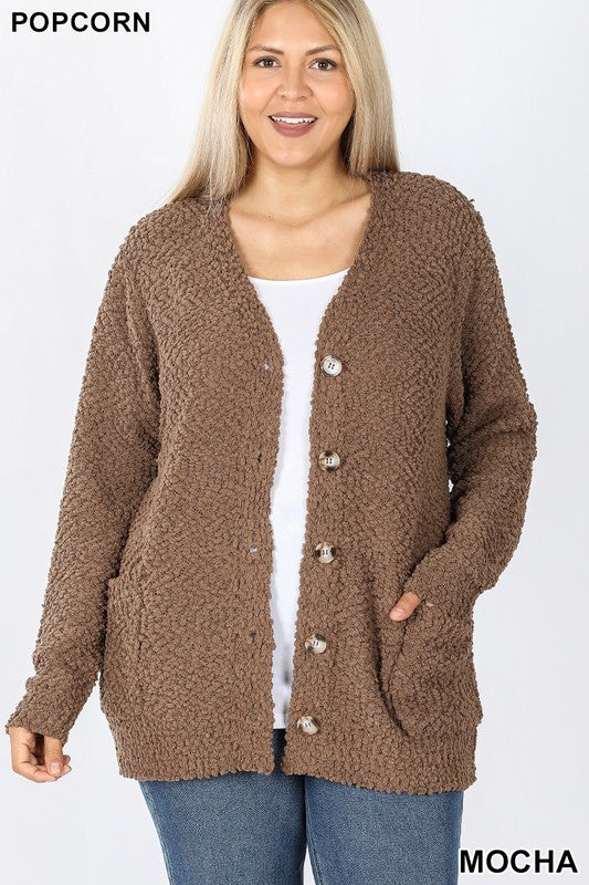 Plus Mocha Popcorn Button Down Cardigan