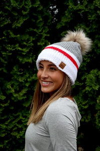 Red/Grey/White Color Block Pom Pom Beanie