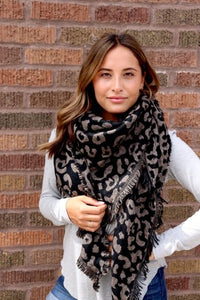 Black Leopard Triangle Scarf