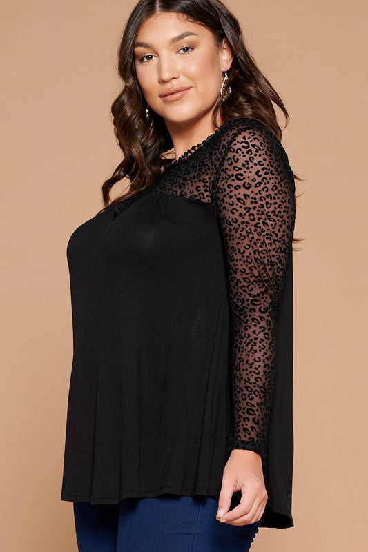 Plus Black Animal Mesh Sleeve Swing Top