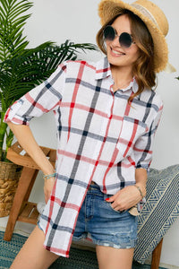 White Navy/Red Plaid Button Up
