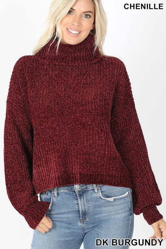 Dk. Burgundy Balloon Sleeve Chenille Turtleneck