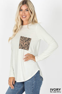 Ivory Leopard Print Pocket crew Top