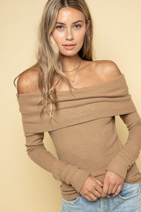 Khaki Cashmere Off Shoulder Sweater