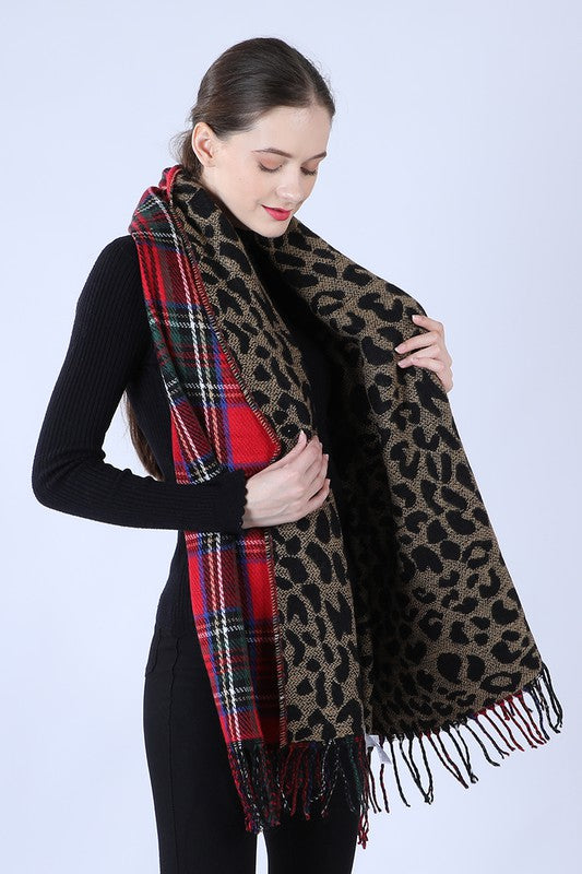 Red Leopard Plaid Pattern Scarf