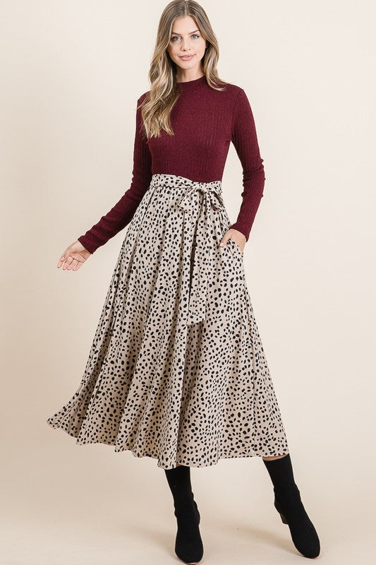 Burgundy Mock Neck Animal Dot Maxi Dress