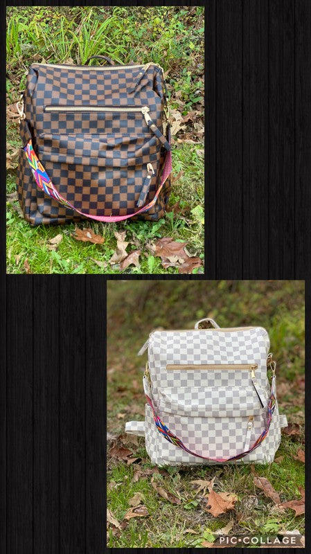 Brown Checkered Backpack 11.8x12.5x5.5