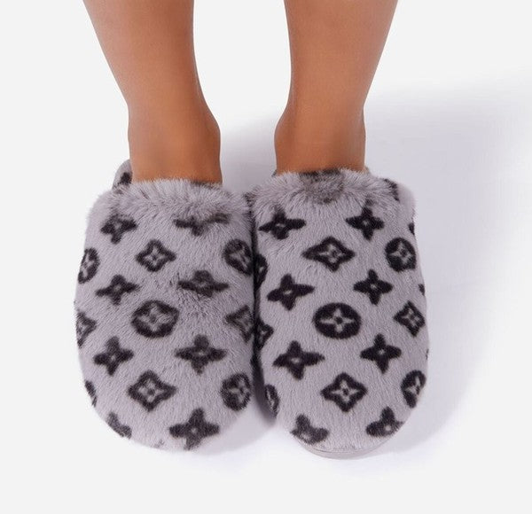 Grey Fuzzy LV Inpired Slippers