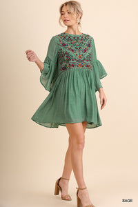 Sage Bell Sleeve Floral Embroidered Dress