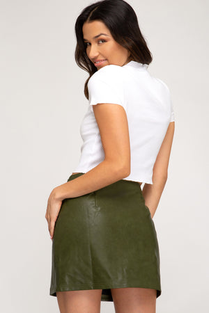 Olive Faux Leather Zip Skirt