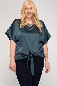PLUS SHORT KIMONO SLEEVE SATIN TOP FRONT TIE