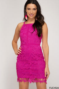 Fuchsia Sleeveless Lace Dress