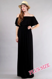 Plus Size Off Shoulder Black Maxi Dress