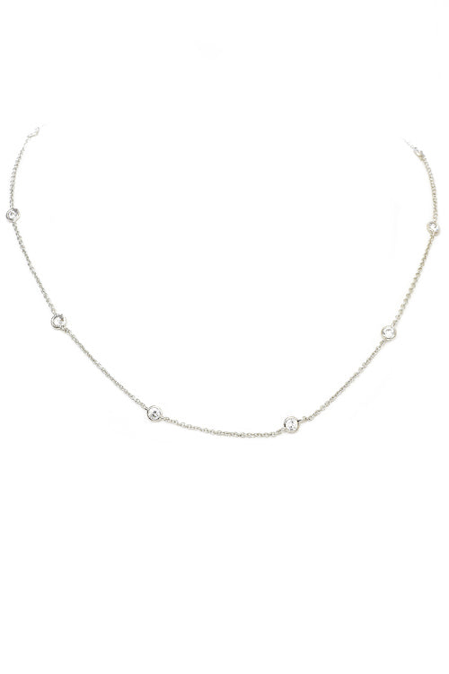 Silver Cubic Zirconia Diamond by the Yard Necklace
