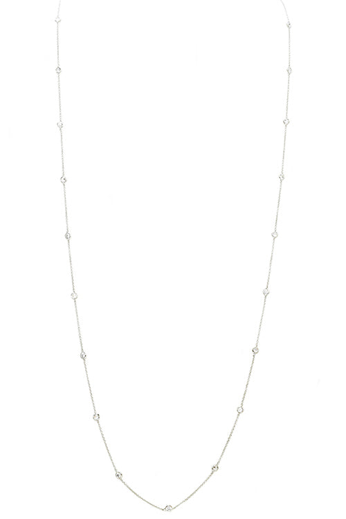 Silver Diamond by the Yard with Cubic Zirconia Necklace