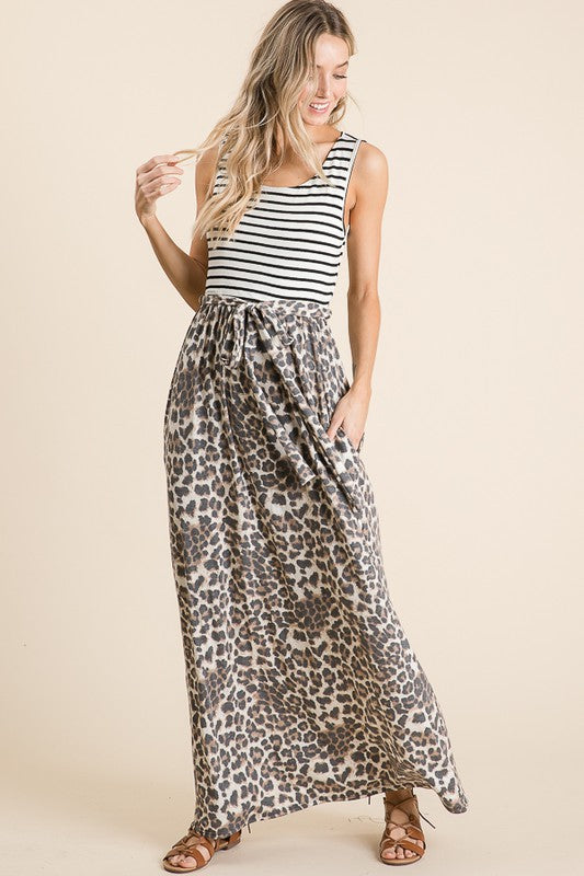 Stripe Leopard Maxi Dress