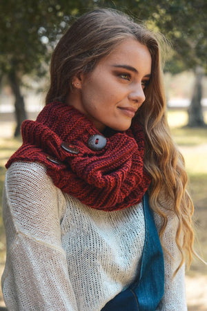Red Chunky Knit Button Infinity Scarf