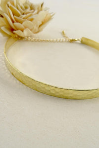 Gold Hammered Metal Choker