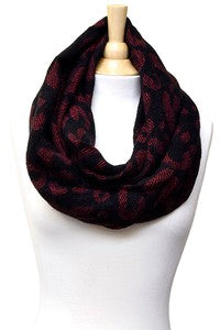Black/Red Leopard Infinity Scarf