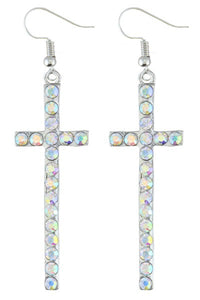 Silver AB Crystal Cross Earrings