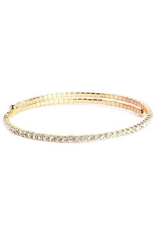 Gold Thin Crystal Studded Coil Cuff Bracelet