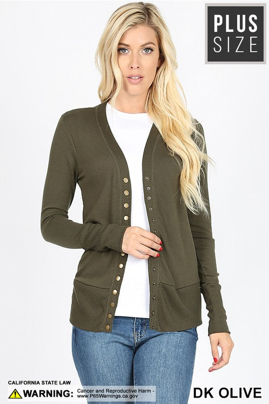 Plus Olive Snap Cardigan