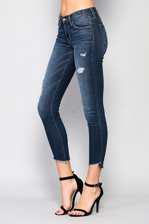 Blue Amber Mid Rise Skinny Ankle