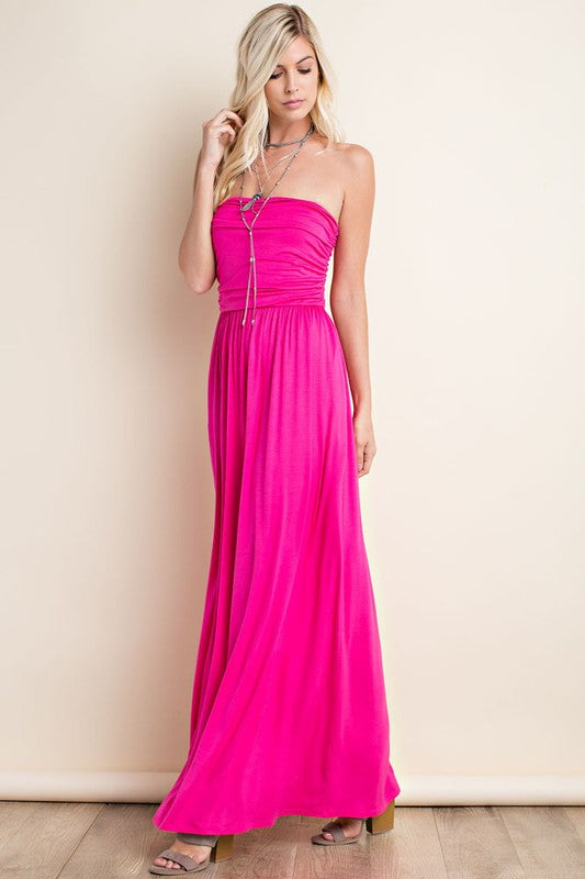 Fuchsia Strapless Maxi Dress W/Pockets