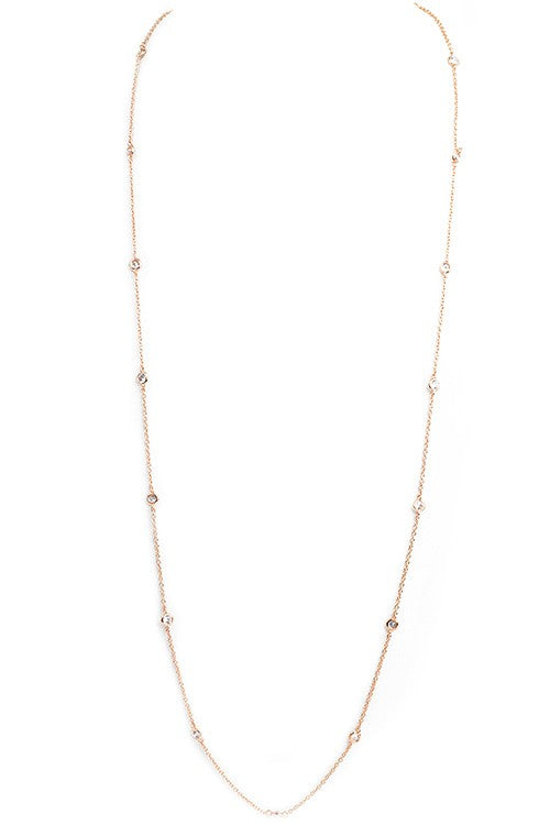 "36"" Rose Gold Diamond by the Yard with Clear Cubic Zirconia Necklace"