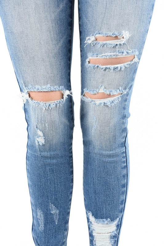 Light Distressed Thigh Mid-Rise