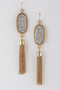 Pretty Rhinestone Tassel Earrings