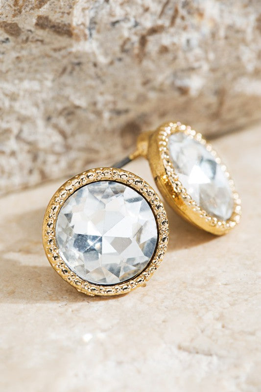 Elegant Glass Circle Post Earrings