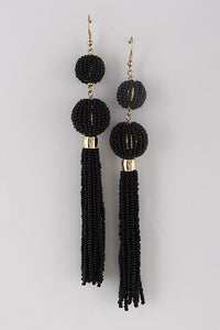 Black Ball Drop Tassel Earrings