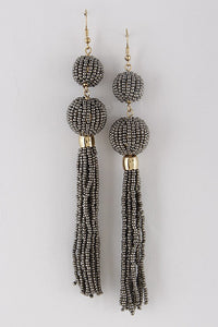 Gray Ball Drop Tassel Earring