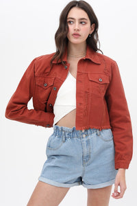 Rust Distressed Cropped Denim Jacket