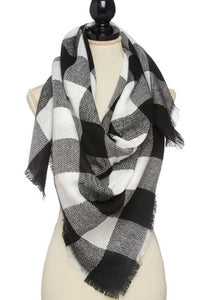 White Buffalo Plaid Scarf