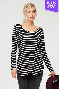 Plus Black/Ivory Stripe Print Top